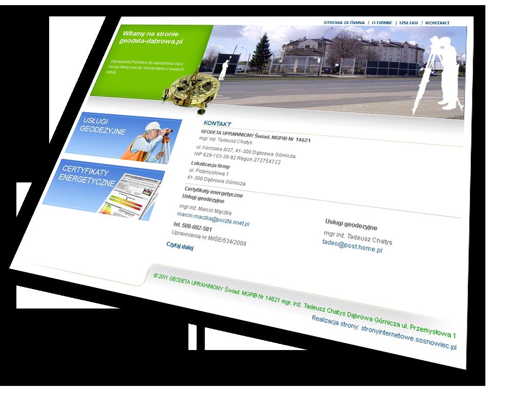 projektowanie stron internetowych geodeta Dąbrowa Górnicza