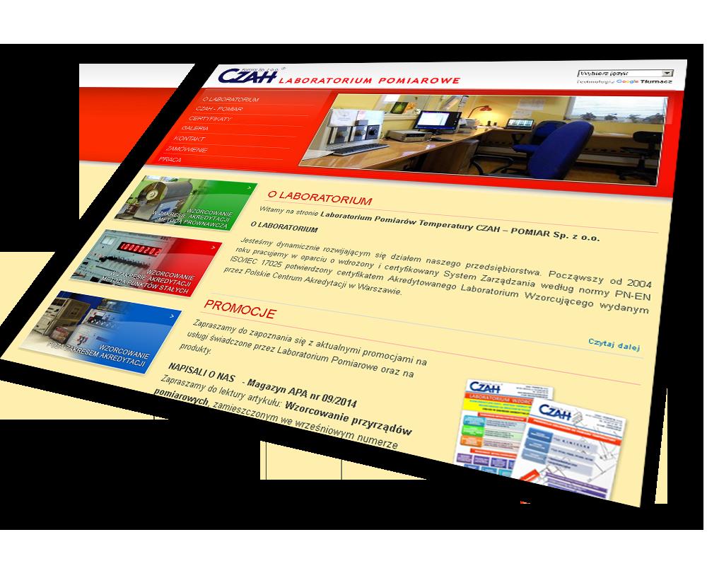 zrealizowana strona internetowa Laboratorium Pomiarowe