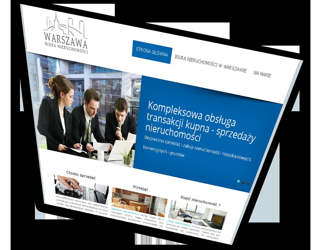 Strona internetowa dla biura nieruchomości w Warszawie